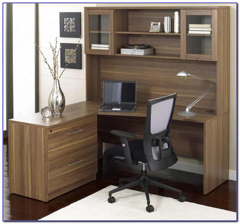Corner L Shaped Office Desk With Hutch White