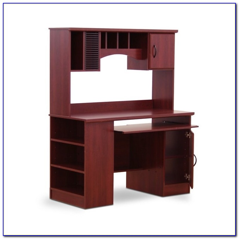 Dark Cherry Computer Desk With Hutch