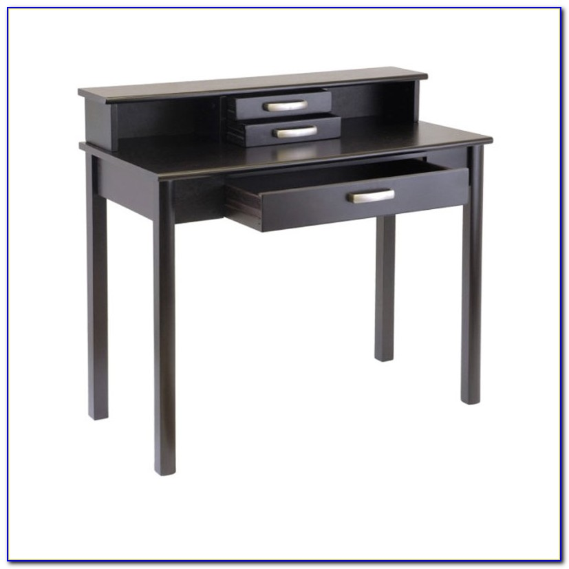 Dark Wood Desk With Hutch