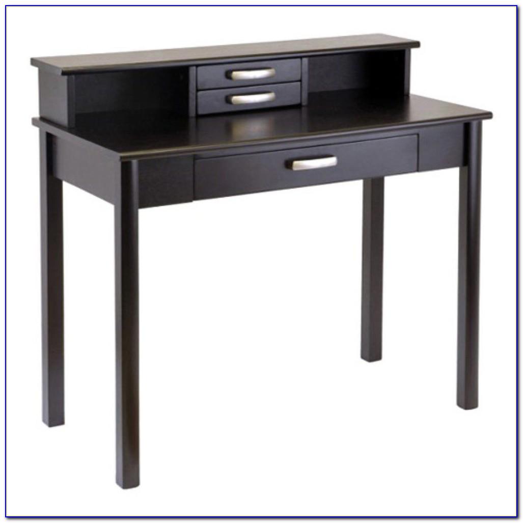 Espresso L Desk With Hutch