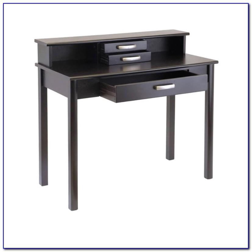 Espresso Wood Desk With Hutch