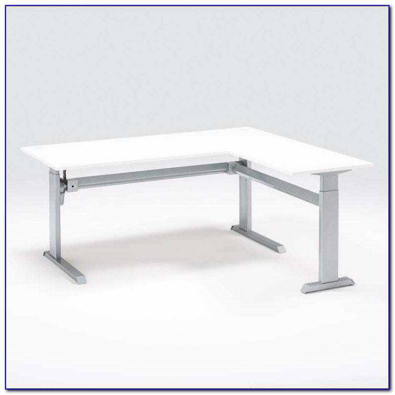 Height Adjustable L Shaped Computer Desk