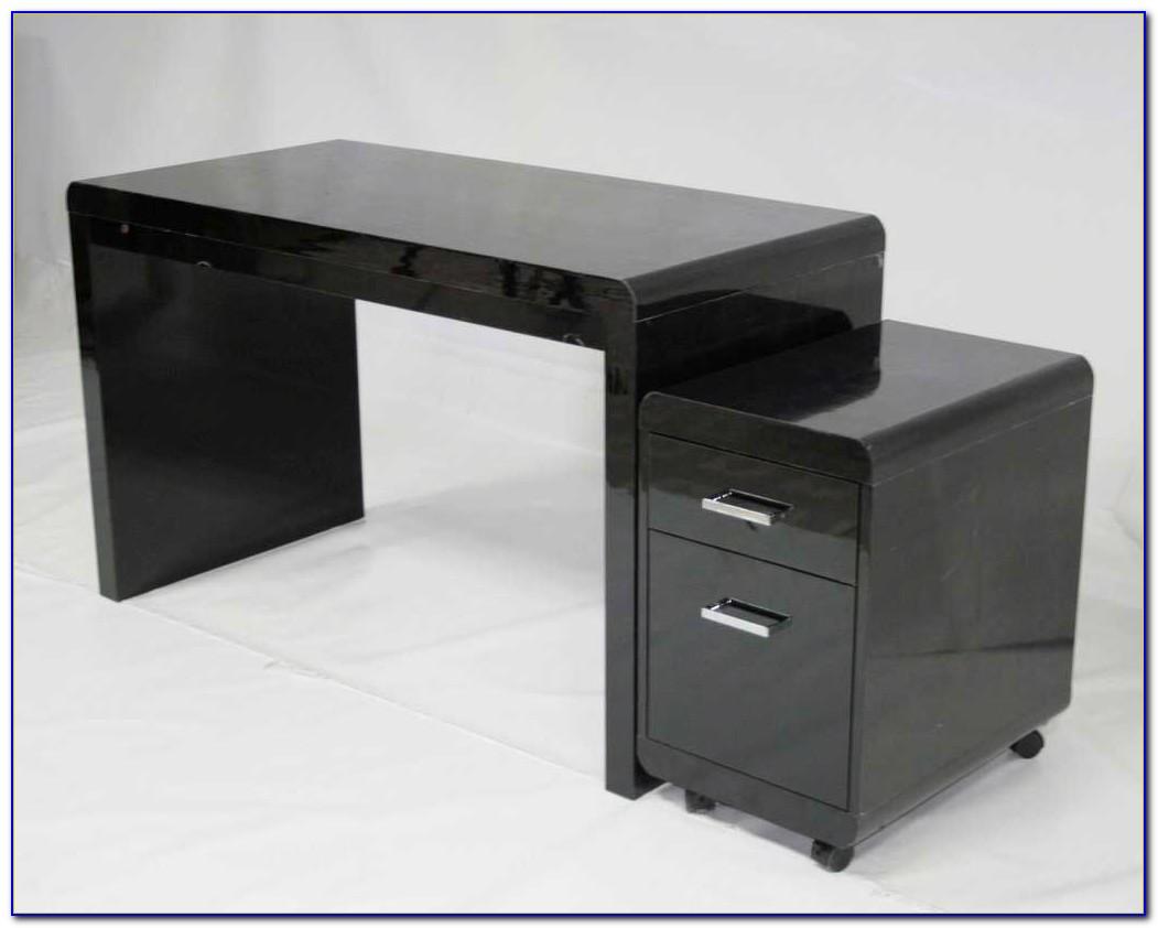High Gloss Office Desk Black