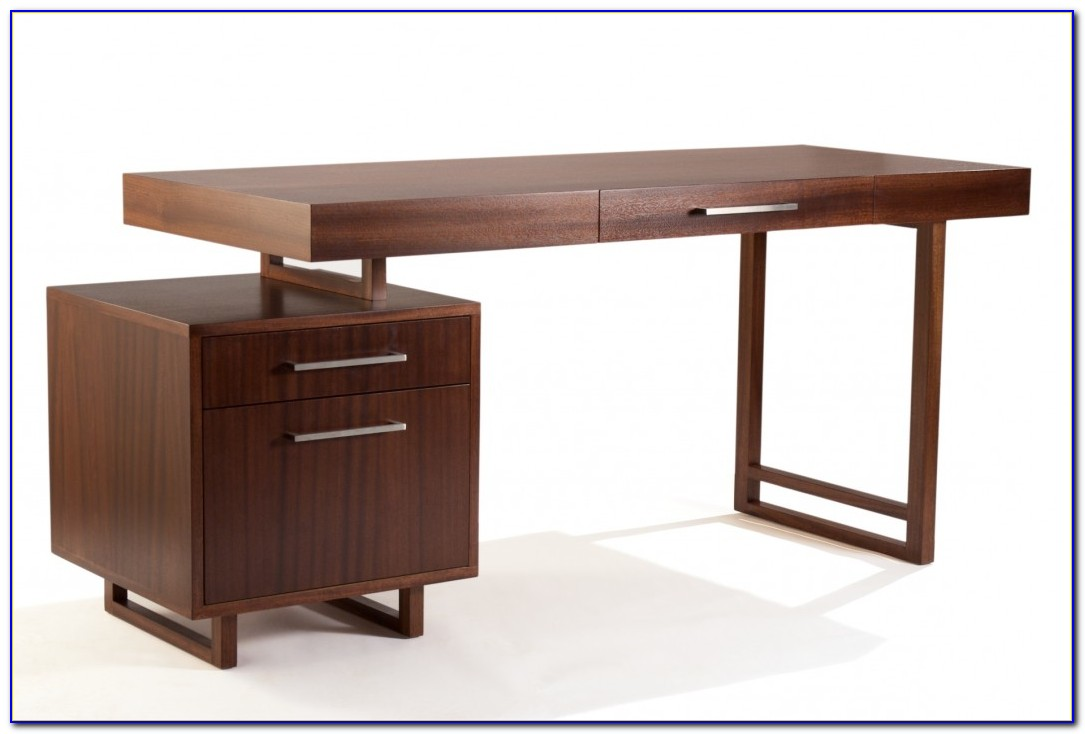 Modern Desk With File Drawers