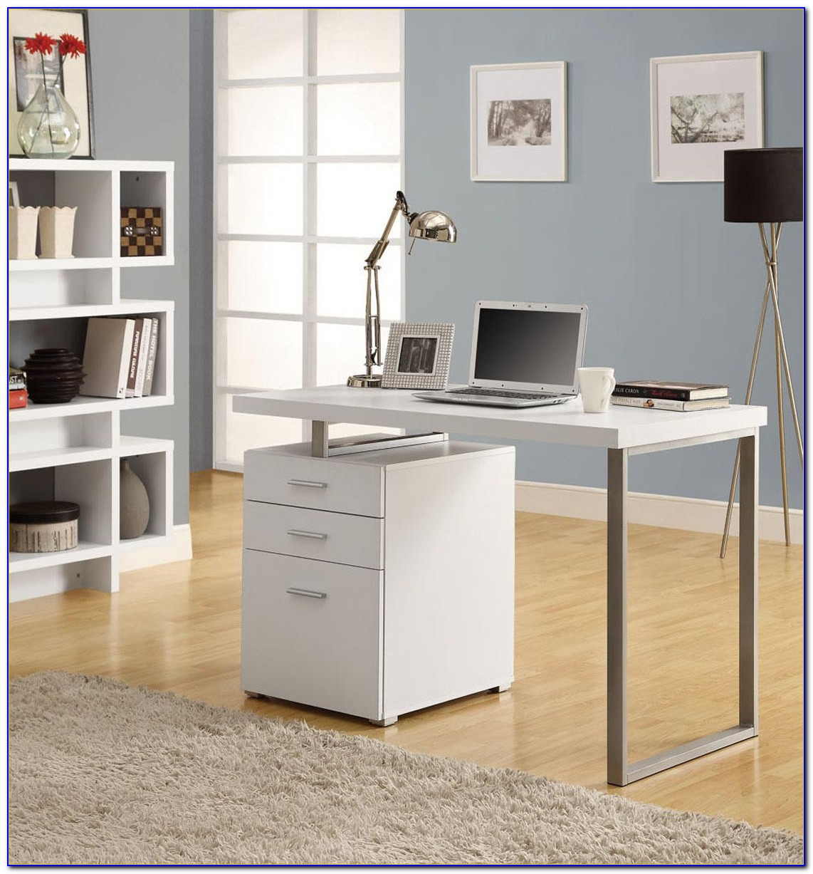 Modern Glass Desk With Drawers