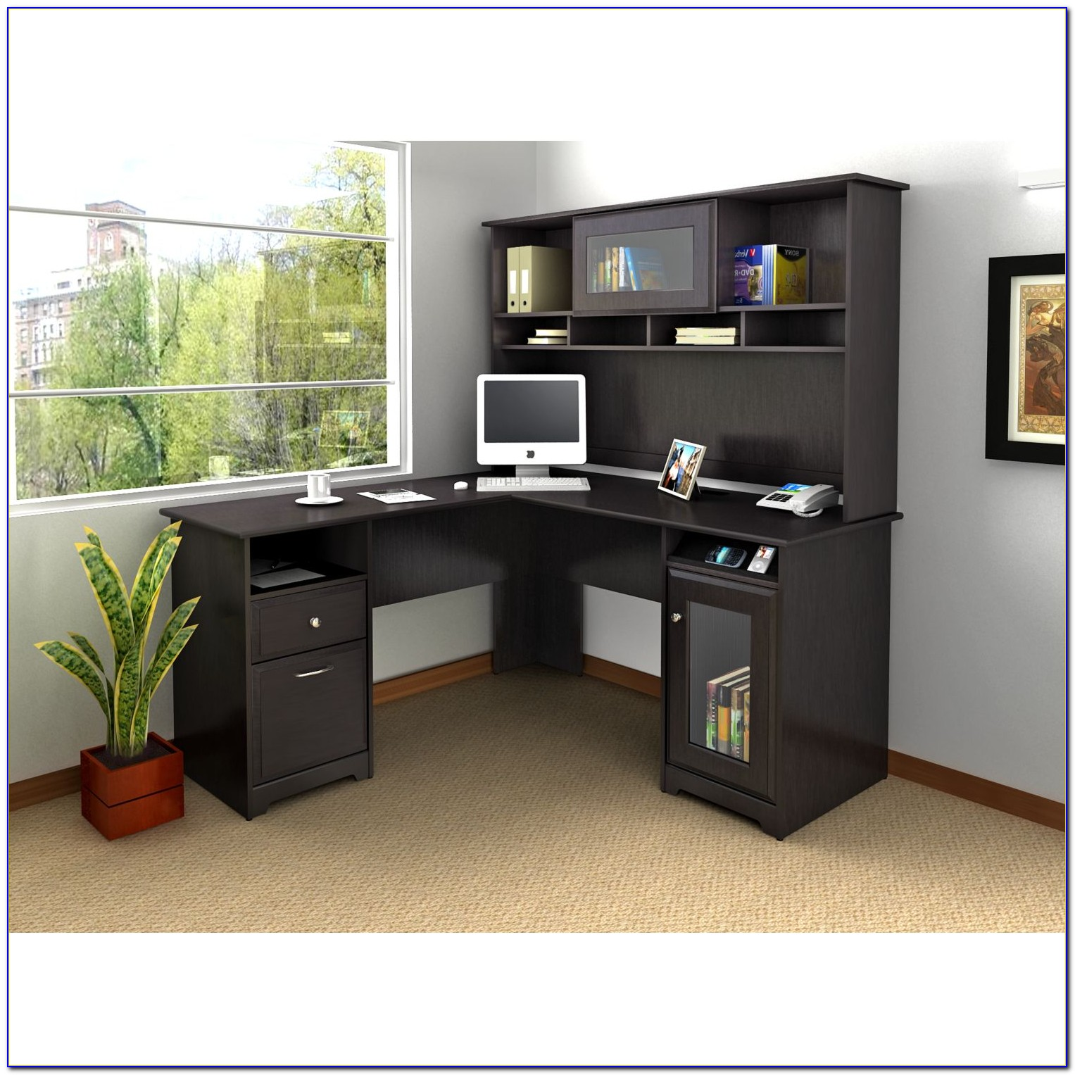 Office Desk With Hutch And Right Return