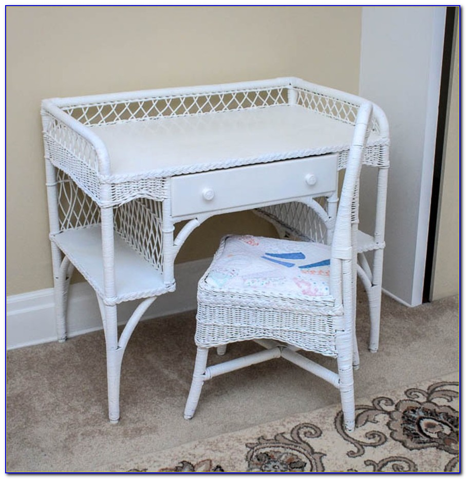 Rattan Desk And Chair Set