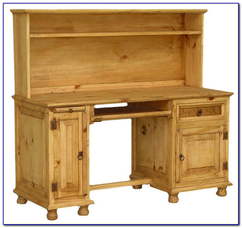 Rustic Pine Desk With Hutch