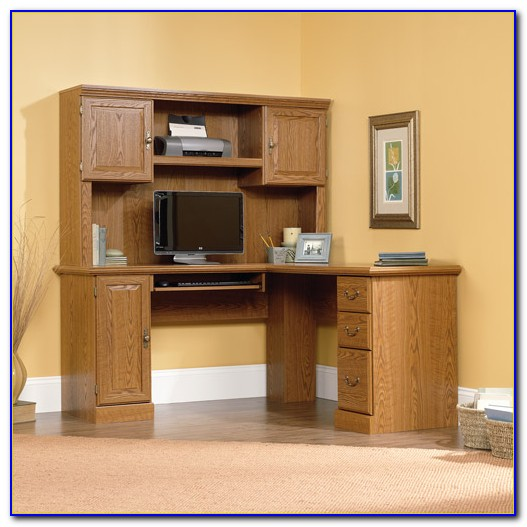 Sauder Harbor View Corner Desk With Hutch