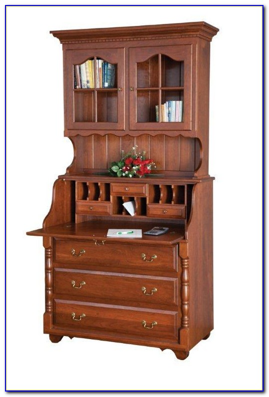 Secretary Desk With Drawers And Hutch