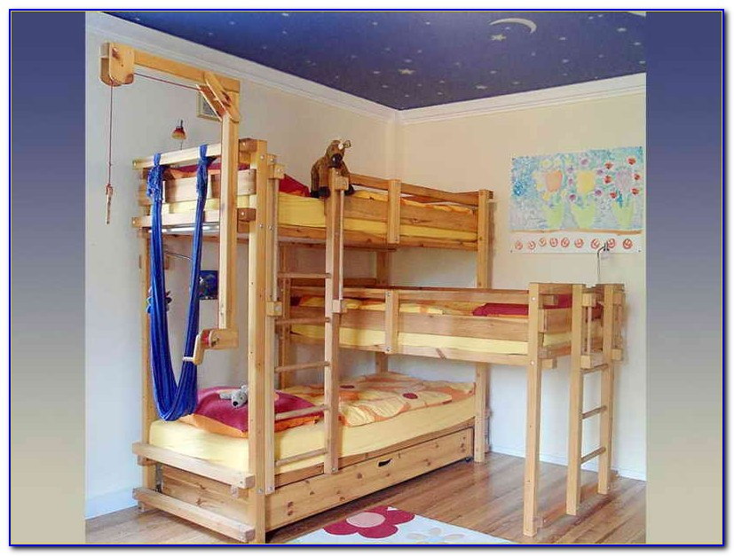 Twin Over Queen Bunk Bed With Desk