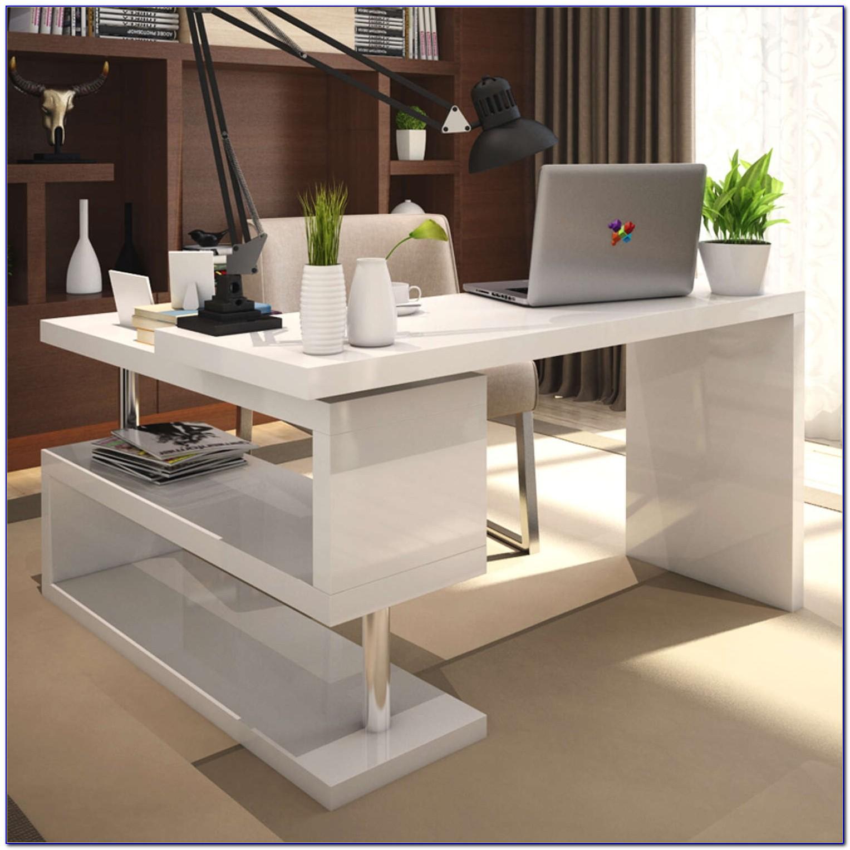 Viva High Gloss Office Desk White