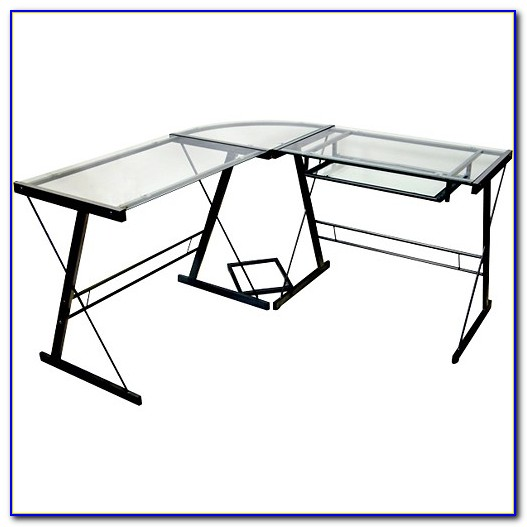 Walker Edison Glass And Metal Corner Computer Desk