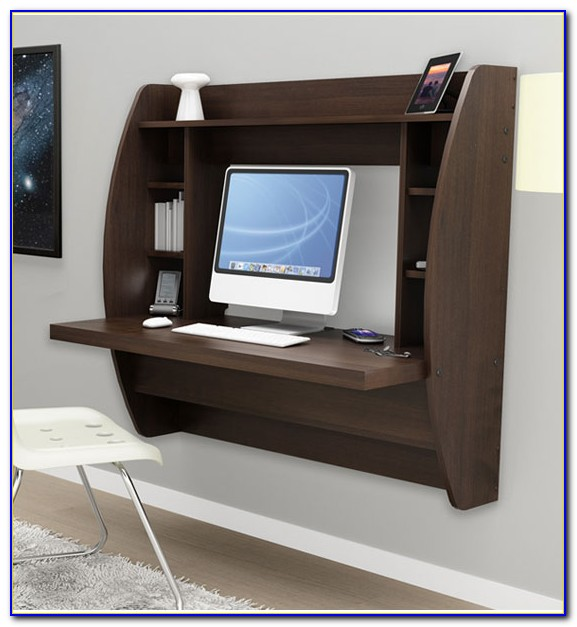 Wall Mounted Floating Desk With Storage Shelf