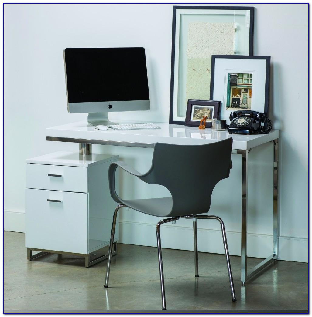 White Computer Desk With File Cabinet