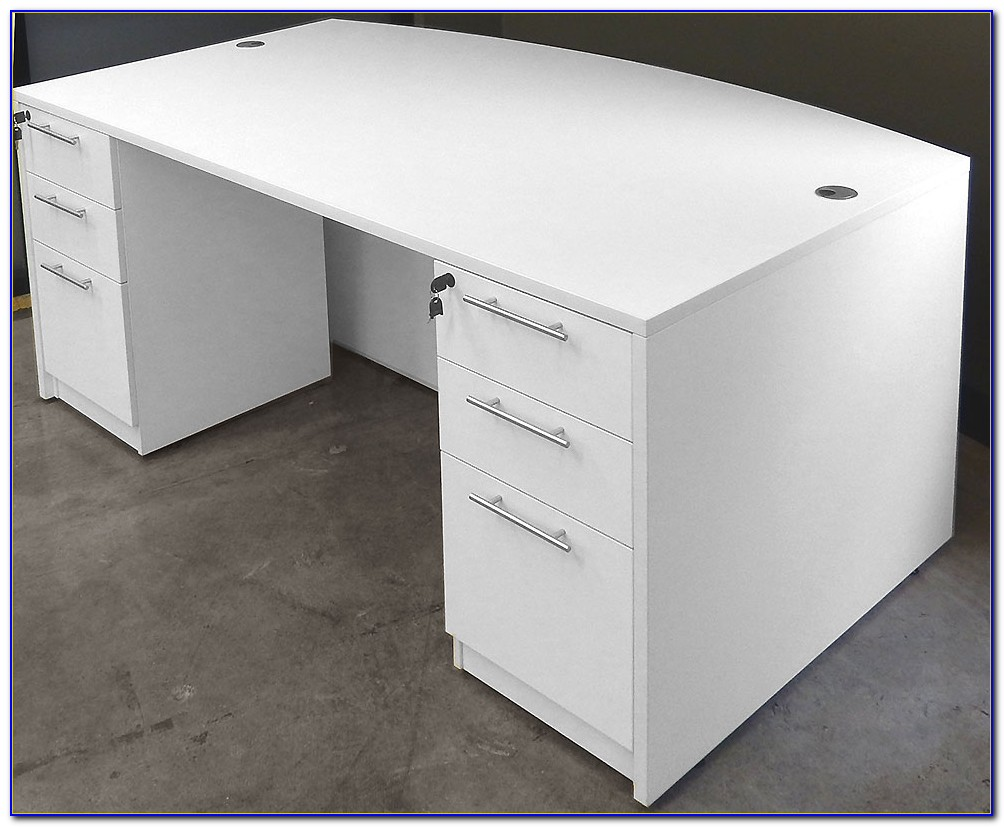 White Desk With 2 File Drawers