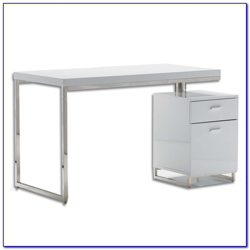 White Desk With File Drawers