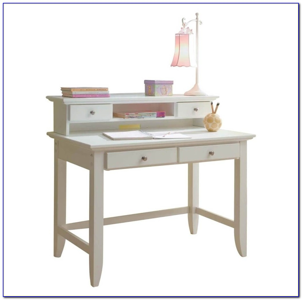 White Desk With Hutch And File Drawer