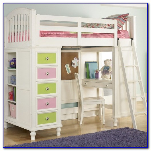 White Twin Bunk Beds With Desk
