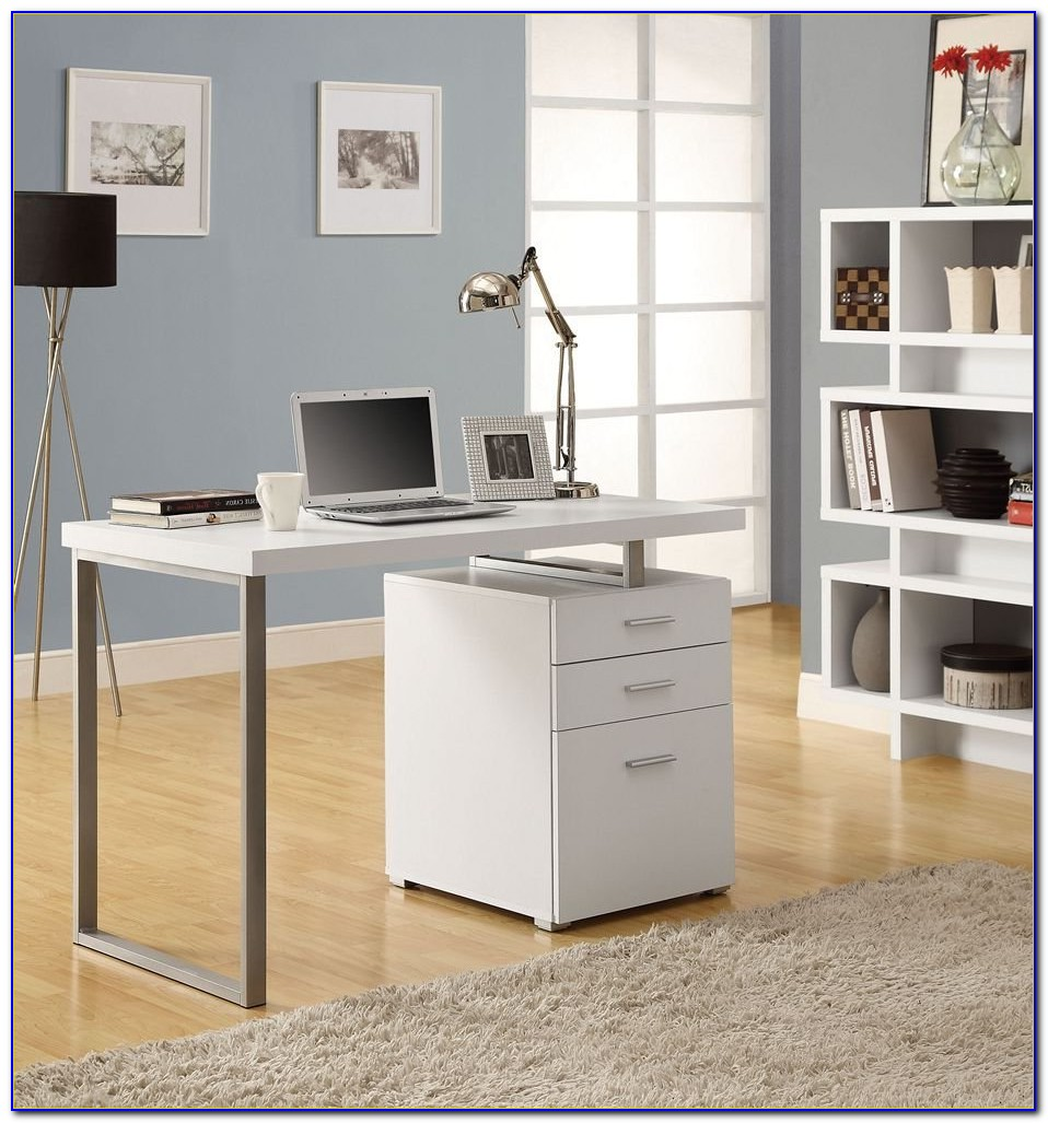 White Writing Desk With File Drawer