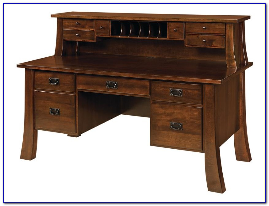 Antique Roll Top Secretary Desk With Hutch