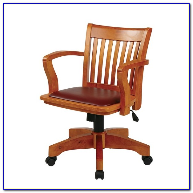Antique Wood Bankers Desk Chair