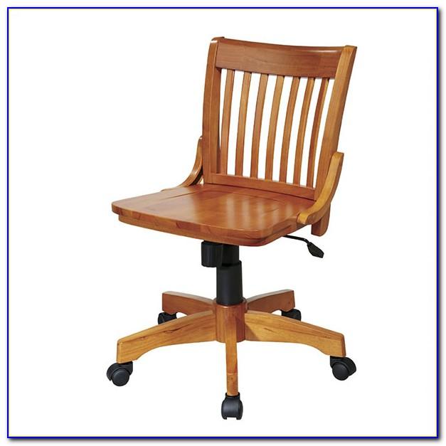 Antique Wooden Bankers Desk Chair