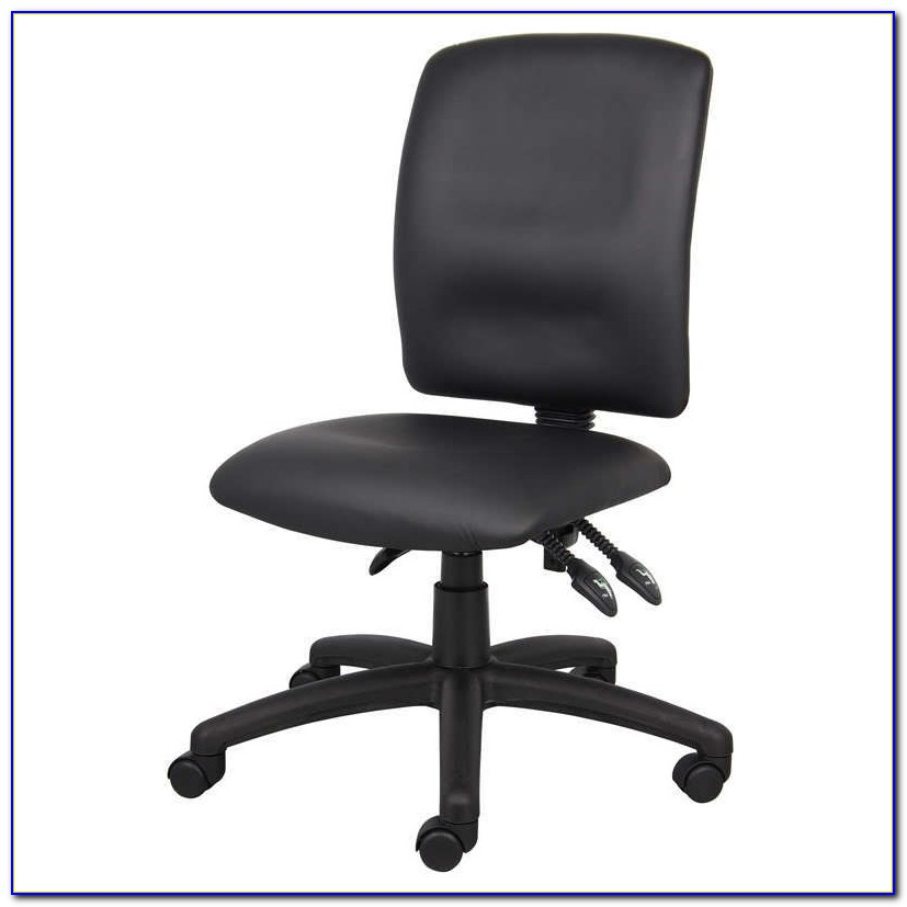 Armless Brown Leather Desk Chair