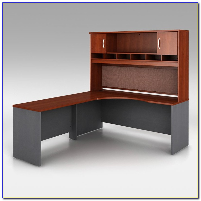 Bush L Desk With Hutch