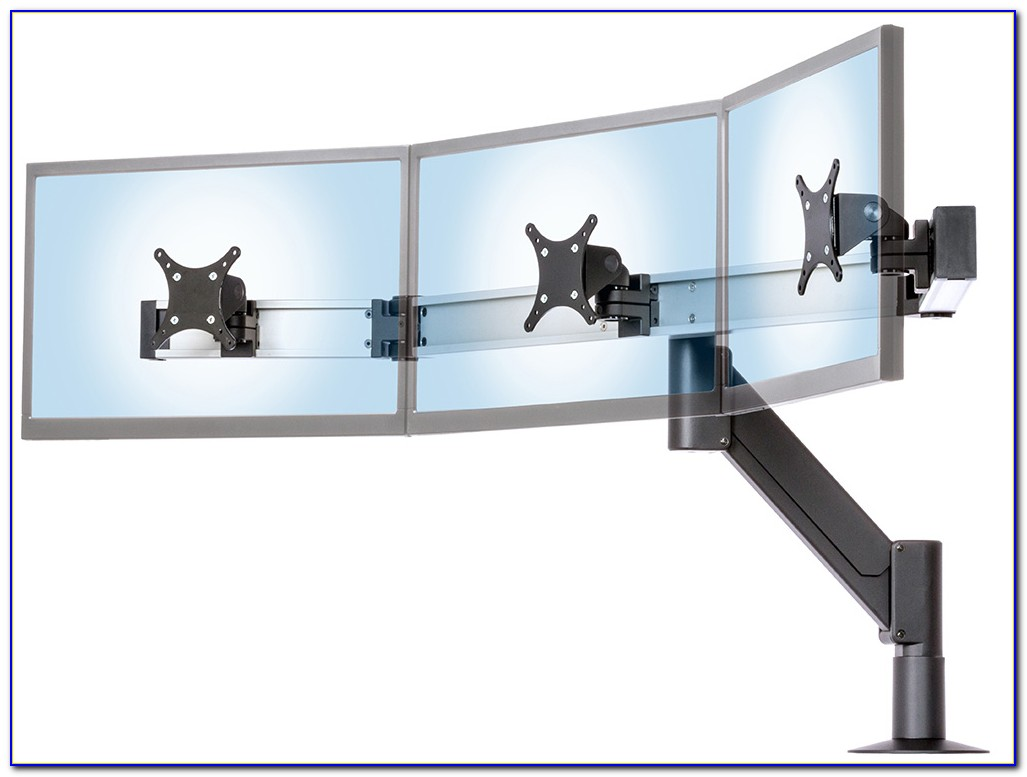 Desk Mounted Triple Monitor Stand