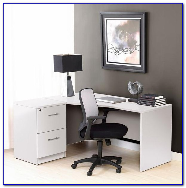 Desk With 2 Drawer File Cabinet
