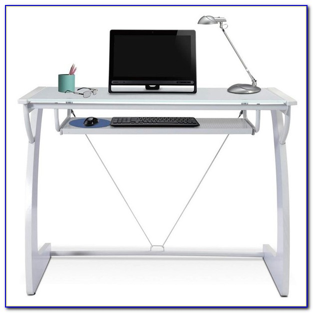 Glass Computer Desk With Pullout Keyboard Tray