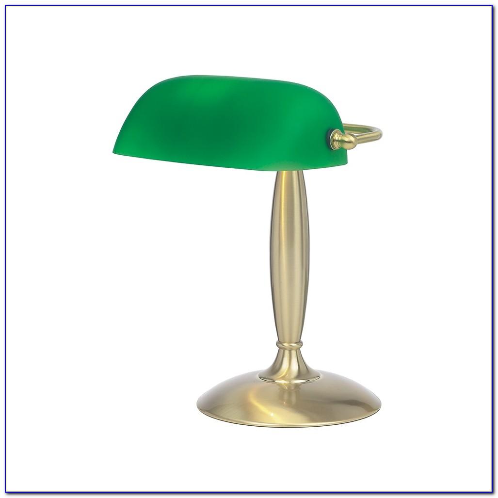 Green Glass Bankers Desk Lamp