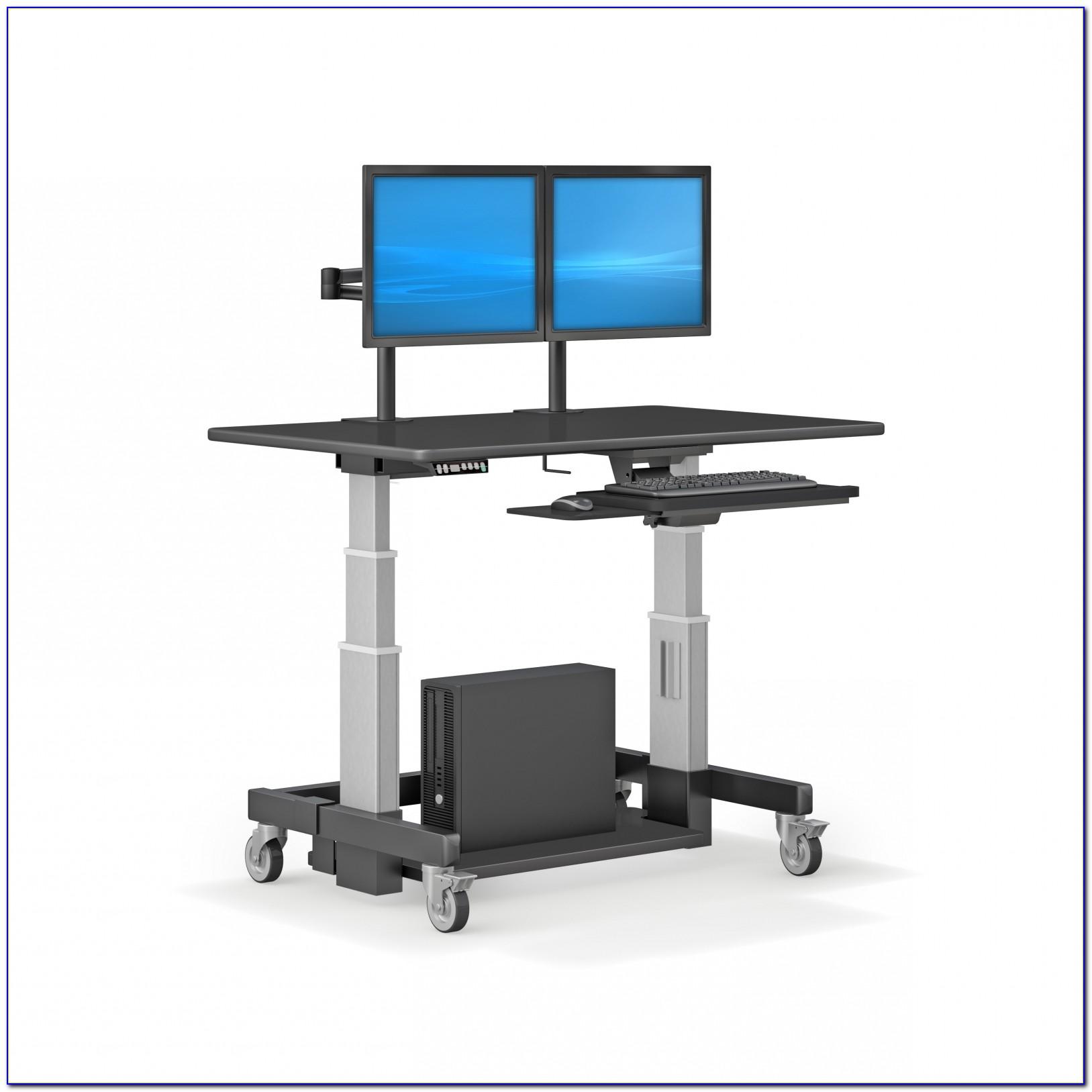 Hopco Height Adjustable Mobile Tower Computer Workstation Desk