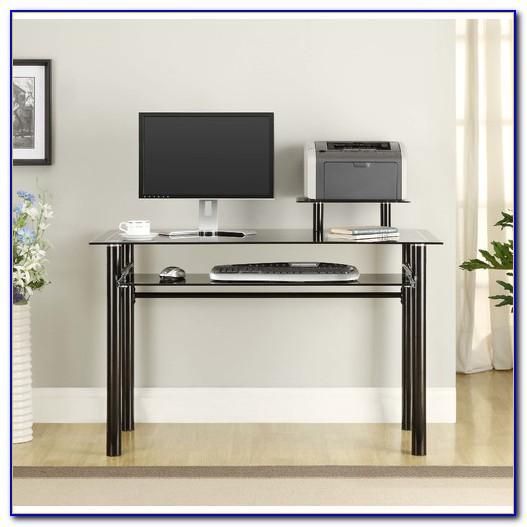 Innovex Round Shelf Glass Computer Desk