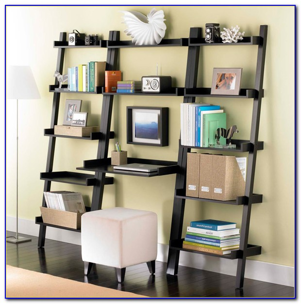 Leaning Bookshelf With Desk