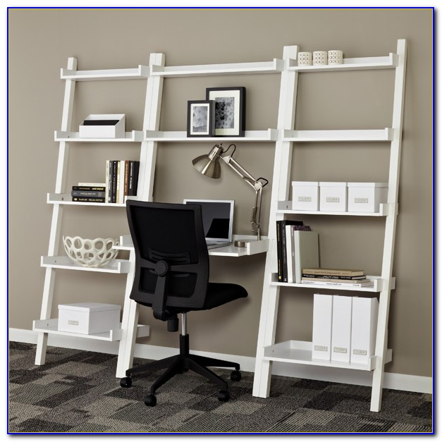 Leaning Bookshelf With Desktop