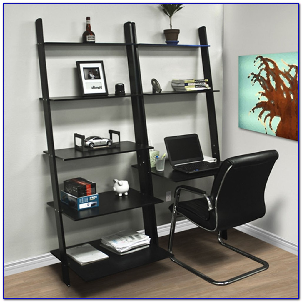 Leaning Bookshelves With Desk