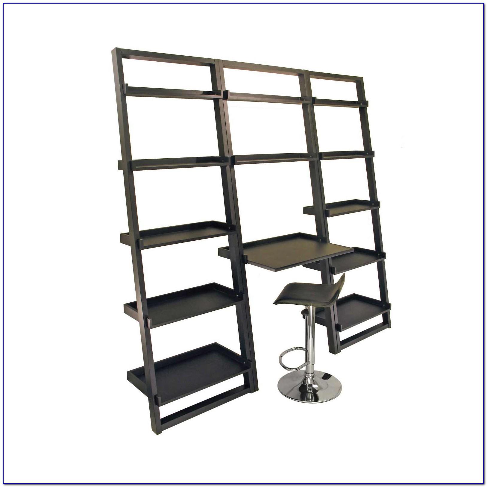 Leaning Ladder Shelf With Desk