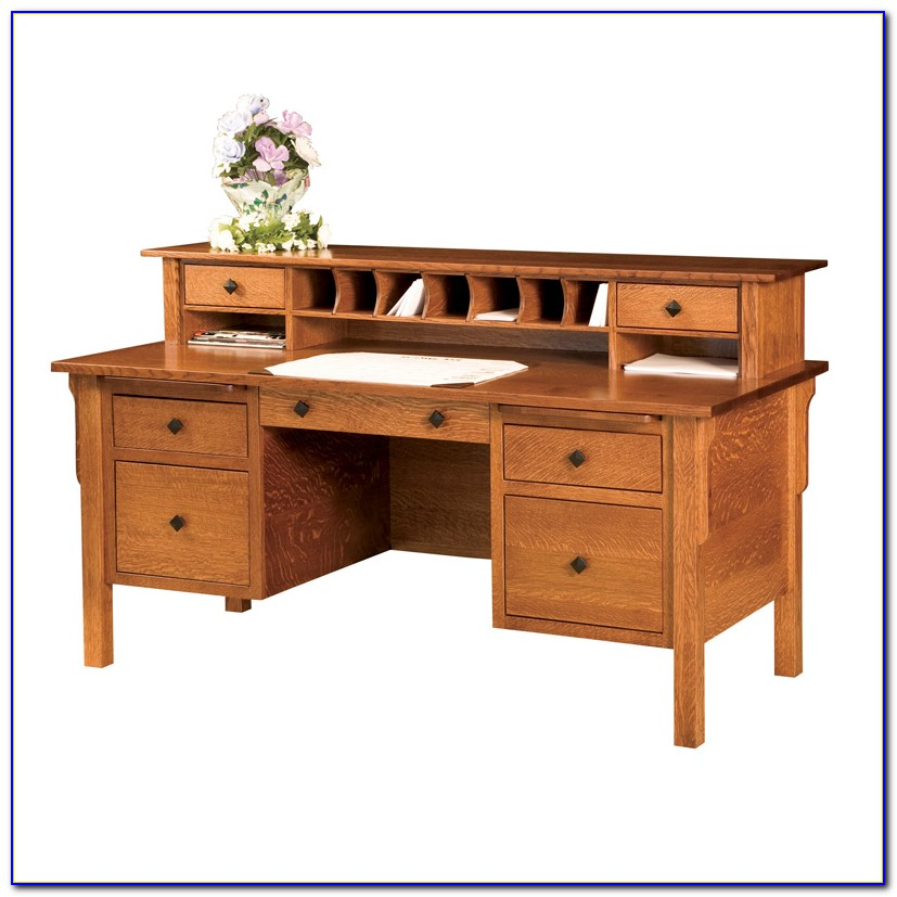 Mission Style L Shaped Desk With Hutch