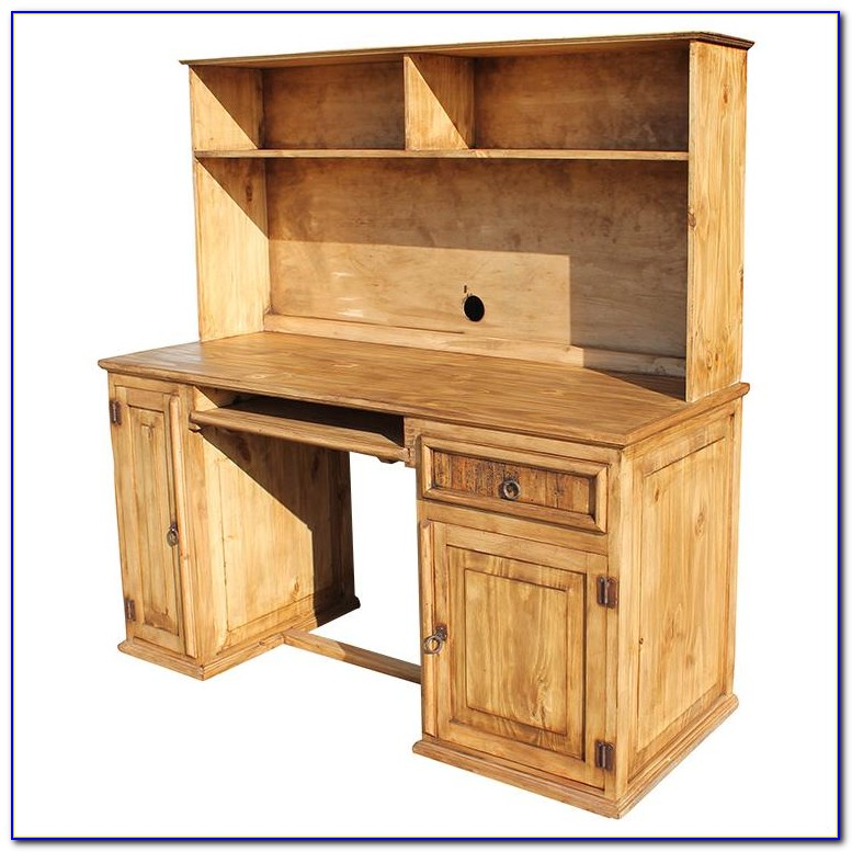 Pine Computer Desk With Hutch