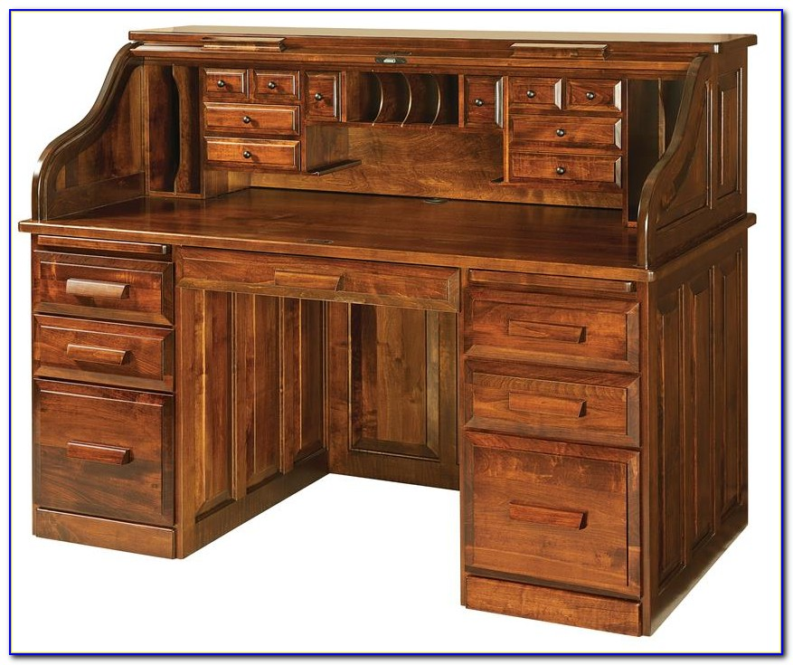 Roll Top Computer Desk With Hutch