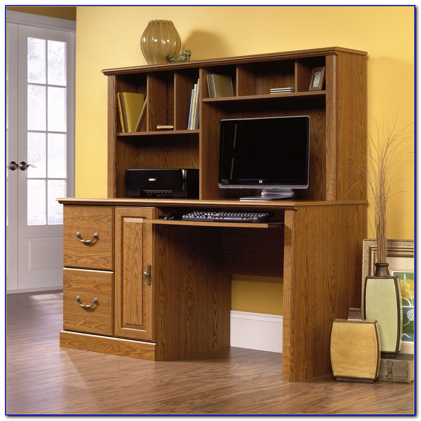 Sauder Beginnings Desk With Hutch Cinnamon Cherry