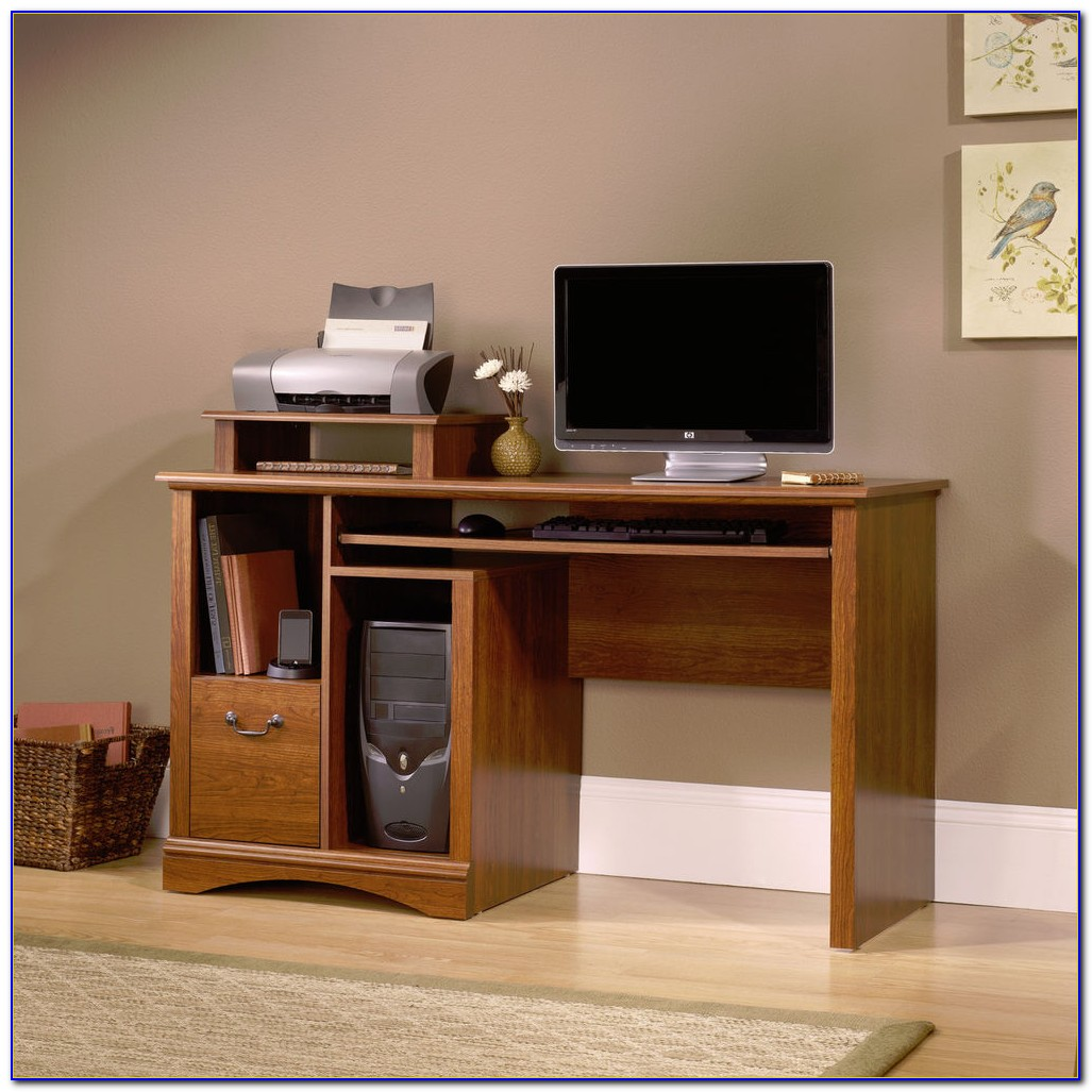 Sauder Computer Desk Cinnamon Cherry Finish