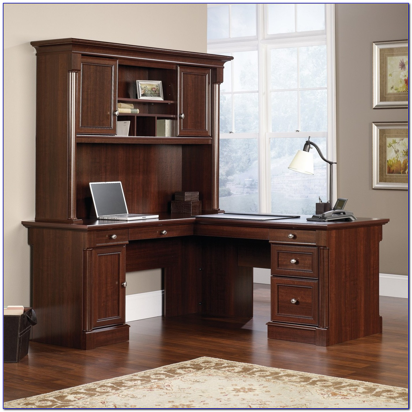 Sauder White Desk With Hutch
