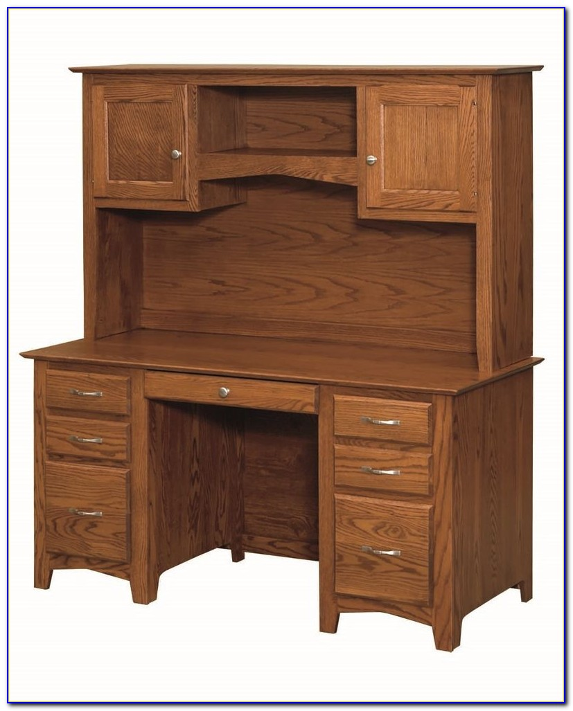 Solid Oak Corner Desk With Hutch