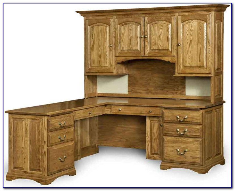 Solid Oak L Shaped Desk With Hutch