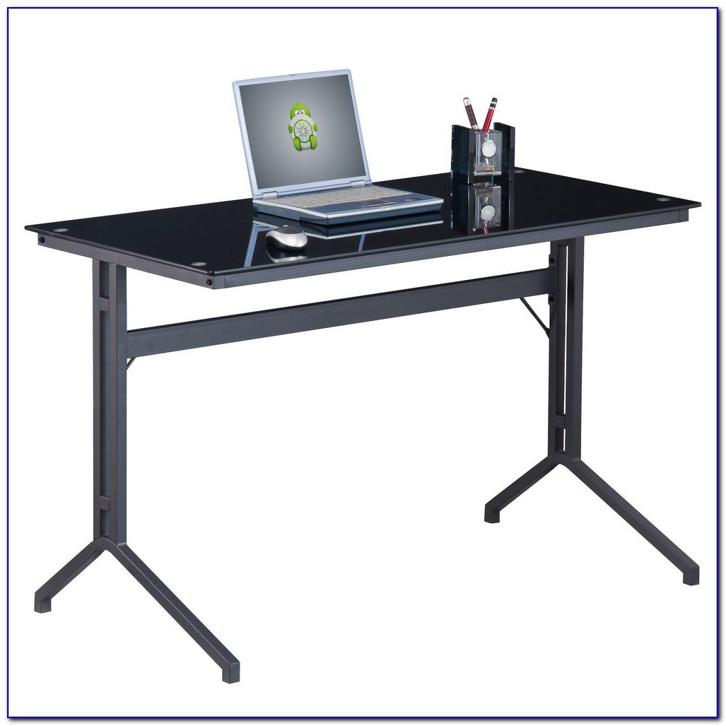 Staples Black Glass Computer Desk