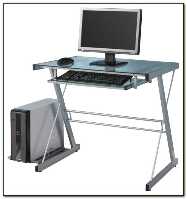 Walker Edison Glass Metal Silver Computer Desk