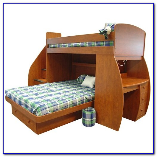White Bunk Beds Twin Over Full With Desk